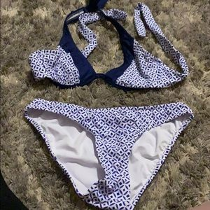 Blue swimsuit with a design